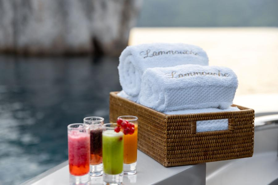 Cocktails and towels - LAMMOUCHE PHOTOSHOOT - SYM Superyacht Management, Port Camille Rayon, Golfe Juan