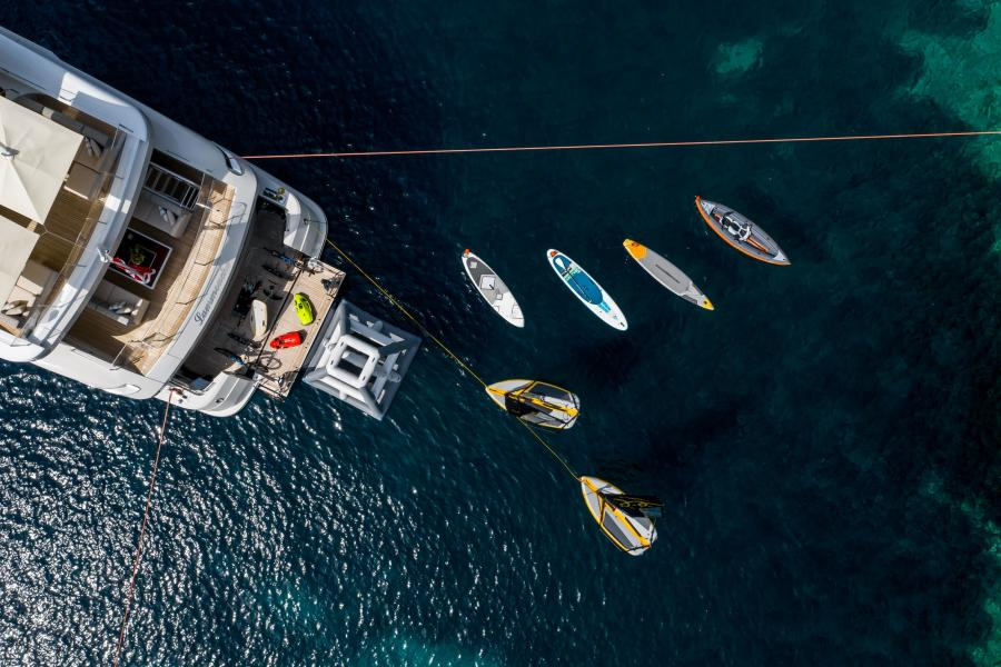 Aerial photo of boat and toys - LAMMOUCHE PHOTOSHOOT - SYM Superyacht Management, Port Camille Rayon, Golfe Juan