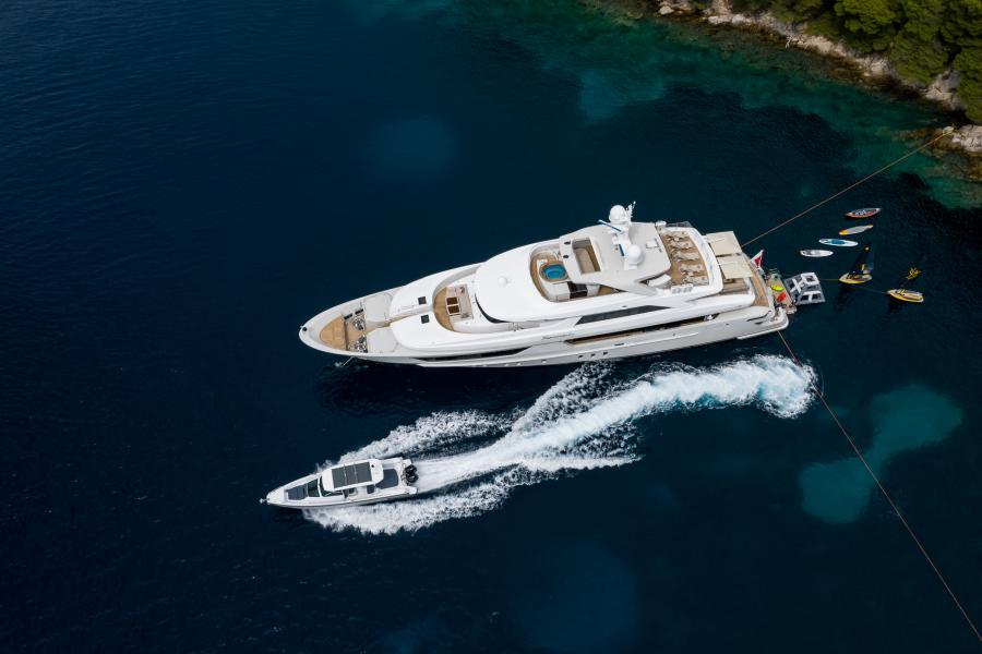 Aerial shot of yacht and chase boat tender - LAMMOUCHE PHOTOSHOOT - SYM Superyacht Management, Port Camille Rayon, Golfe Juan